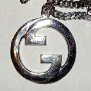 Large Rhoduim Sterling Silver Plated Gucci Pendant